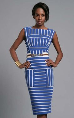 "Tracy Reese Delft/Ecru Directional Stripe Dress  Multidirectional stripes cover a fitted ponte knit dress with square cutout back and cinched at the waist with a leather detailed belt.    Cotton/Elastane/Polyester; Dry Clean  Approx length: 43 1/4""  In-seam center back zipper with hook and eye closure  Lined    Imported"