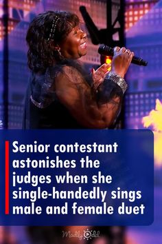 Adeline Bates, a 63-year-old vocal coach, and writer stun all four AGT judges with her unique singing performance. She didn't just give a typical performance, but it was indeed a one-of-a-kind show. Apparently, she single-handedly sings a duet by shifting her face and voice from male to female. The judges can't help but stand in awe after her performance. #singer #music #song #agt #americasgottalent #music #duet #senior Agt Judges, America's Got Talent Videos, Vocal Coach, Tyra Banks, Just Giving, The Voice, Rap, Competition, Singing