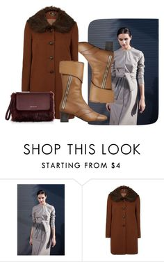 """""""Boring Brown"""" by faeryrain on Polyvore featuring Karen Millen, Boots, fashionset, polyvorecontest, winterstyle and wintercoats"""