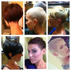 I would love to cut my hair like the upper left corner girl so I can then donate my hair to locks of love