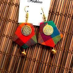 Jewellery Stores Dubai outside Jewellery Stores Gold Coast Diy Fabric Jewellery, Fabric Earrings, Jewelry Design Earrings, Thread Jewellery, Textile Jewelry, Diy Earrings, Earrings Handmade, Beaded Jewelry, Silver Earrings