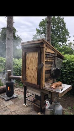 Barbecue grill/smoker will hold a whole dear can' cook anything with firewood awesome for Sale in Fort Gratiot Township, MI - OfferUp Backyard Smokers, Outdoor Smoker, Outdoor Oven, Outdoor Cooking, Diy Smoker, Barbecue Smoker, Homemade Smoker, Grilling, Smoke House Plans