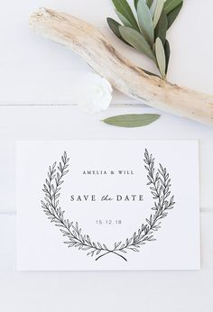 PRINTABLE Save the Date / Olive Leaf Wedding Suite / Available on Etsy / By Rachel Vanderzon