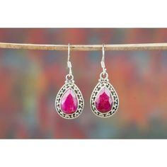 Amazing Ruby Earrings In Sterling Silver via Polyvore featuring jewelry, earrings, sterling silver ruby earrings, ruby earrings, earring jewelry, ruby jewellery and ruby jewelry