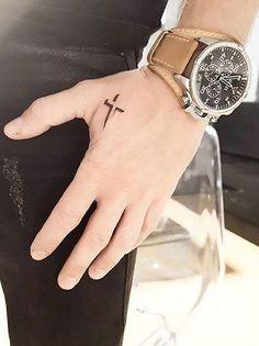 Hand Tattoos for Guys A Cross . Hand Tattoos for Guys A Cross . Celtic Tattoos for Men Cross Tattoo On Hand, Simple Cross Tattoo, Cross Tattoo For Men, Cross Tattoo Designs, Small Tattoo Designs, Tattoo Designs Men, Hand Tattoo Small, Tattoo For Man, Back Tattoo Men