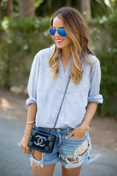 Chambray and Denim Shorts // via Gal Meets Glam Looks Style, My Style, Summer Outfits, Cute Outfits, Summer Clothes, Gal Meets Glam, Estilo Fashion, Street Style Summer, Pulls