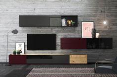 Elegant and modern living room. Modularity free.  Elegante y moderno salón. Ideas para un salón moderno y elegante. Acabados: roble nudoso, cristal taiga brillo, taiga mate, cristal parsol gris, roble nudoso, taiga mate y roble. Ruang Tv, Tv Cabinets, Home Values, Modern Design, Shelves, Living Room, Wall, Furniture, Home Decor