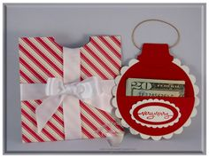 Ornament Money Holder - Red and White by craftycaro - Cards and Paper Crafts at Splitcoaststampers Christmas Paper, All Things Christmas, Handmade Christmas, Christmas Crafts, Gift Cards Money, Christmas Gift Card Holders, Paper Gifts, Homemade Cards, Craft Gifts