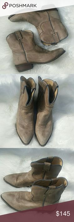 Frye short Cowboy boots Excellent pre loved condition. Light brown Frye cowboy boots. Size 8.5 true to size. Made in Mexico. Broken in but still in amazing condition. Some small scuffs on the toes and slight wear on the bottom. Frye Shoes Ankle Boots & Booties
