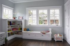 Child's Room Cabinets & Trim:  Benjamin Moore Int RM 02, Super White, satin finish.    Child's Room Walls & Ceiling:  Benjamin Moore HC-171, Wickham Gray, flat finish.