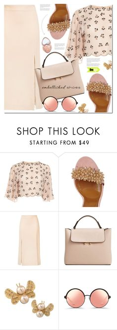 """Embellished-shoes"" by sweta-gupta ❤ liked on Polyvore featuring Ryan Roche, MANGO, Carolee, Matthew Williamson, Too Faced Cosmetics, polyvoreeditorial, polyvorecontest and embellishedshoes"