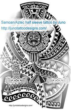 Samoan Aztec tattoo design for 3/4 sleeve by Juno , tattoo designs made to order http://junotattooart.wordpress.com/