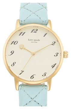 kate spade new york 'metro' quilted leather strap watch, Olivia Burton, Other Accessories, Jewelry Accessories, Kate Spade Watch, Just Because Gifts, Hand Watch, Quilted Leather, Tan Leather, Watch Bands