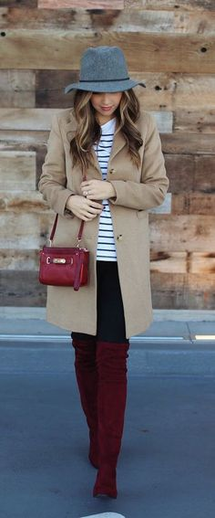 #winter #fashion / camel coat + burgundy boots