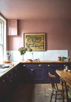 Farrow & Ball embraces bold colours for releasing its must-have shades for interiors Black Kitchen Cabinets, Painting Kitchen Cabinets, Black Kitchens, Kitchens Uk, Pink Kitchens, Farrow Ball, Farrow And Ball Paint, Family Kitchen, New Kitchen