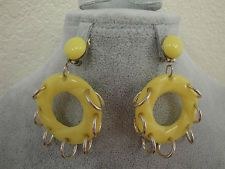 Vintage estate earrings Hong Kong FUNKY yellow clip on plastic and metal