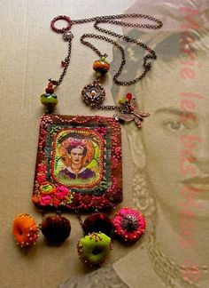 Textile Frida Kahlo necklace