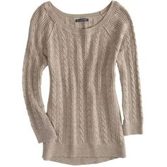 AEO Factory Cable Knit Crew Sweater ($15) ❤ liked on Polyvore featuring tops, sweaters, jumpers, shirts, brown heather, brown sweater, crew neck shirt, long shirts, chunky cable knit sweater and crewneck sweaters