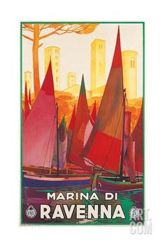 Travel Poster for Marina di Ravenna, Italy Art Print at Art.com