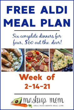 Free ALDI Meal Plan week of 2/14/21 - 2/20/21: Six complete dinners for four, $60 out the door! Enjoy everything from garlic soy pork with edamame rice to an easy cheesy vegetarian pasta skillet this week - and so much more. Aldi Recipes, Real Food Recipes, Healthy Recipes, Aldi Meal Plan, Meal Prep, Meal Planning Board, Meal Planner, Meals, Dinners