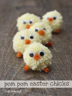 Pom Pom Easter Chicks via @ConsumerCrafts.com.com.com.com #easter #bunny #craft