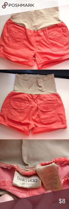 EUC✨ Maternity shorts 🌷 These were my fave! Perfect color for summer, and so comfortable. Coral color. They can be longer, or shorten them with the button, but would need to be ironed 😀 Shorts