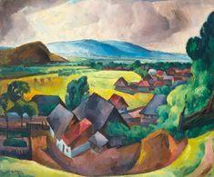 Zsögödi Nagy Imre - The edge of the village, 1928 Cat Art, Art Nouveau, Gallery, Pictures, Paintings, Google Search, 19th Century, Creativity, Artists