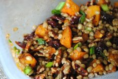 Wheatberry Salad with Dried Cherries, Roasted Butternut Squash and Toasted Pecans
