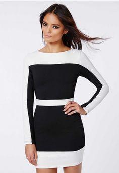 Monochrome Contrast Dress - Dresses - Missguided