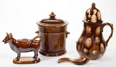 ASSORTED ROCKINGHAM-GLAZED AND OTHER POTTERY ASSORTED : Lot 844