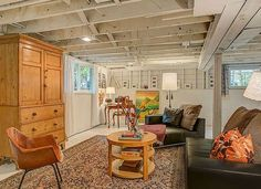 Here are some great ideas to make your unfinished basement very livable!!  #homefurnishings #unfinishedbasement