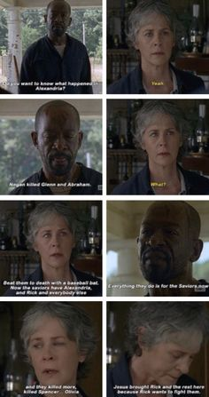 Morgan telling Carol about what happened [gifset]