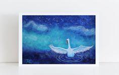 Original White Swan Painting - Acryl on Paper cm, Fantasy Painting Swan, Modern Animal Painting Swan Painting, Acrylic Painting On Paper, Watercolor Paper, Fantasy Paintings, Animal Paintings, Fantasy Kunst, Fantasy Art, Museum, White Swan