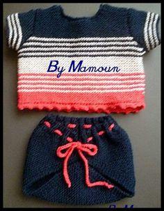 un ensemble composé d'une culotte vintage (cache couche) et d'un pull manche courte entièrement tricotés main dans : Mode Bébé par mamountricote