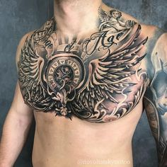 185 Trendy Chest Tattoos for Men - Tattoo Me Now Chest Neck Tattoo, Chest Tattoo Wings, Eagle Chest Tattoo, Full Chest Tattoos, Wing Tattoo Men, Neck Tattoo For Guys, Chest Piece Tattoos, Pieces Tattoo, Best Sleeve Tattoos