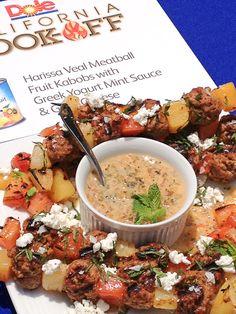 Harissa Veal Meatball Fruit Kabobs - 2013 Dole California Cookoff winning #recipe