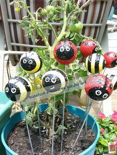 Ladybug & Bumblebee Golf Ball Garden Stakes