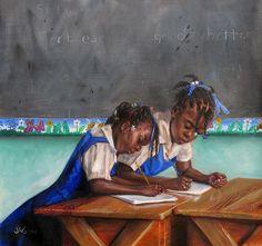 Xanique and Pretage by Jonathan Guy Gladding Black Girl Art, Black Women Art, Art Girl, Black Art Painting, Black Artwork, Music Painting, Jamaican Art, Natural Hair Art, Caribbean Art