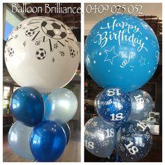"""Happy 18th"" #soccer #3footballoons #jumboballoons #giantballoons #18thbirthdayballoons #partyballoons #partyballoonscanberra #heliumballoons #heliumballoonscanberra #eq #act #cbr #canberraballoons #BalloonBrilliance"