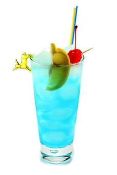 Adios Motherfucker    20 ml gin  20 ml tequila  20 ml vodka  20 ml light rum  20 ml blue curacao  20 ml fresh lemon juice  50 ml sprite  Shake all ingredients except sprite, strain in ice-filled collins glass (400 ml) and fill with sprite. Garnish with lemon slice.