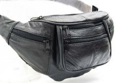 NEW BLACK LEATHER FANNY WAIST PACK M-XXXXL TRAVEL PURSE CAMERA POCKET