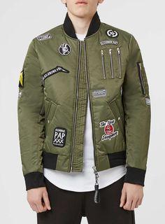 THE NEW DESIGNERS Khaki Badge Padded MA1 Jacket* - Badged Bomber Jackets - Style…