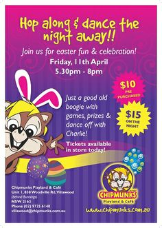 Easter festive fun at Chipmunks Playland and Cafe Villawood.  Join us at our west sydney store o Friday 11th April.  Get your Easter Disco tickets now