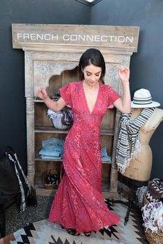 e57505226ea Adelaide Kane wearing French Connection Frances Drape Printed Maxi Dress at  The Zoe Report Third Thursday
