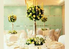 Candelabra for wedding, wedding reception centerpiece NOT my colors but I like the idea
