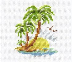 Palm Island Cross Stitch Kit Finished size Comes with a white Aida, 10 shades of threads, needle and instructions in EN, RU. Cross Stitch Sea, Cross Stitch Quotes, Small Cross Stitch, Cross Stitch Cards, Cute Cross Stitch, Beaded Cross Stitch, Modern Cross Stitch, Cross Stitch Flowers, Cross Stitching