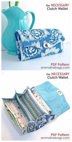 The Necessary Clutch Wallet is a classy wallet with room for a lot of your personal items. It can carry your cell phone/mobile, cheques, cash, cards, coins and still have room for more. The flap of the clutch wallet is secured with either a snap fastener or a professional looking twist lock. The downloadable PDF sewing pattern also includes instructions for the wrist strap and shoulder strap.