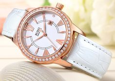 BUREI® Women's BL-3020-01AR Diamond Accented Quartz Rose Gold Watch with White Leather Band Price:$55.99