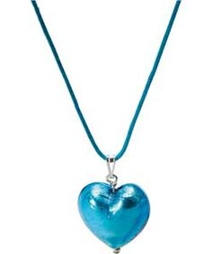 This pretty aqua coloured heart pendant is made from genuine Murano glass, with a matching cord chain. A lovely necklace, perfect as a gift or a special treat for yourself and part of the Pretty Pastels look at Argos.