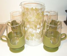 Rare Pyrex Set Sip N Serve Spring Blossom Green Crazy Daisy Pitcher Mug in Box